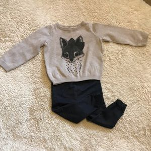 Toddler girl  fox sweater and jeggings